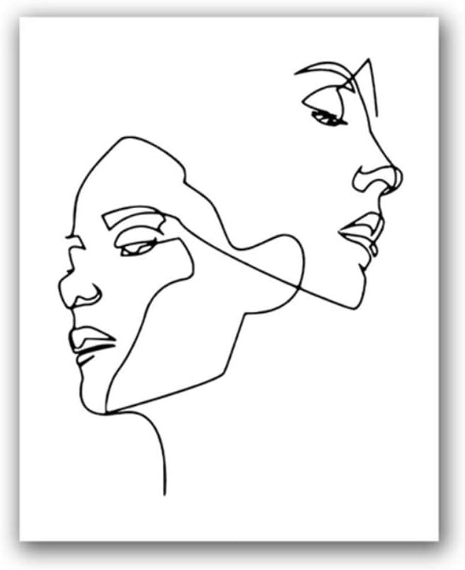 Arte de pared Mujer Rostros Dibujo de líneas Imprimir Moderno Resumen Línea única Pintura de lienzo en blanco y negro Cuadro de pared Decoración nórdica del cartel 12x16 pulgadas (30x40 cm) Sin marco
