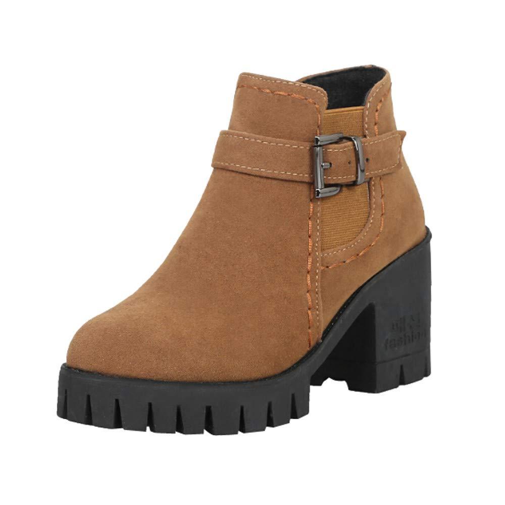 Zapatillas, BaZhaHei, Hebilla de cinturón de Terciopelo Mate de tacón Medio Botas Zapatos de Punta Redonda para Mujer Hebilla Correa Suede Plaza Tacones ...