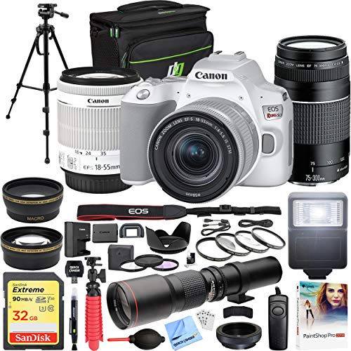 Canon EOS Rebel SL3 DSLR 24.1MP 4K Video Camera with EF-S 18-55mm is STM Lens White Bundle with EF 75-300mm F4-5.6 III Telephoto Zoom Lens, 500mm Preset Telephoto Lens and Accessories (18 Items)