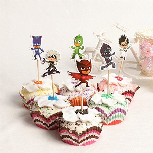 24Pc - PJ Masks Kawaii Cool Hero Theme Party Supplies Cartoon Cupcake Toppers Pick Children Birthday Party Decoration/ Serve 24 -
