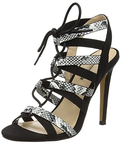 Jane Norman Women's Lace up Snake Open-Toe Heels Black (Black) E0UikJJ6i