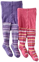 Country Kids Baby Girls\' Lollipop Stripe 2 Pair Tights, Candy/Lavender, 12 24 Months