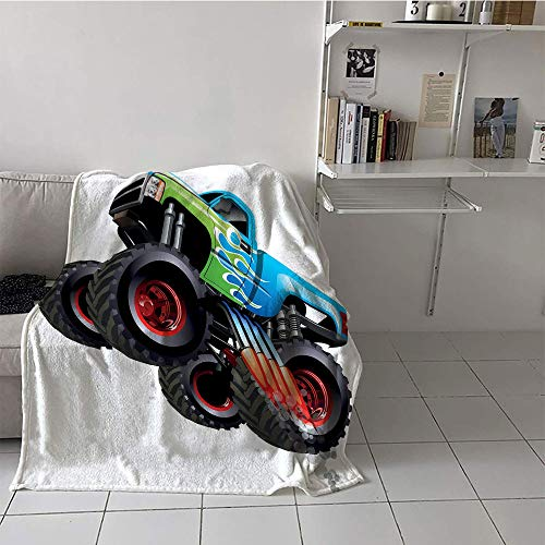 Khaki home Children's Blanket Chair Oversized Travel Throw Cover Blanket (50 by 60 Inch,Cars,Cartoon Monster Truck Cool Vehicle Modified to The Perfection Colorful Design,Aqua Green Black