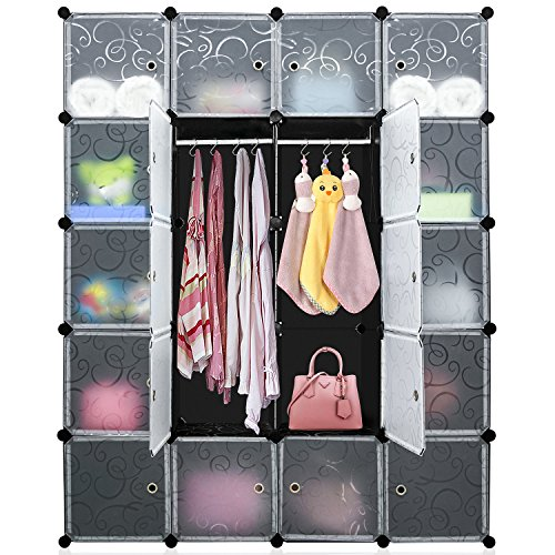 Open Cube Storage System (DIY Cube Organizer, Multi-use Modular Shelving Storage, Carttiya Closet Wardrobe with Translucent Doors, Modular Closet System with 2 Hanging Rods for Clothes, Shoes, Toys (20 Cubes))