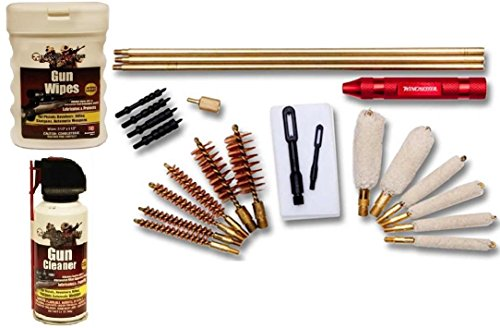 DAC Winchester Universal .22, .270, .30, .357, .38, 9mm, 12 & 20 Ga Gauge Caliber Pistol Handgun Revolver Rifle Shotgun 24-Piece Gun Cleaning Kit + Ultimate Arms Gear Gunsmith & Armorer's Cleaning Bench Gun Mat + Cleaner Protector Jet Spray Can + Oil Lubricant Pop-Up Wipes