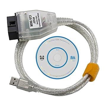 Mini VCI - Escáner de diagnóstico OBD OBD2 con interfaz USB, herramienta de análisis para Toyota TIS Techstream y software de diagnóstico (idioma ...