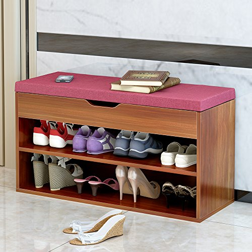 DlandHome Storage Bench Hall Entryway, M018A-R, 2-Tier Shoe Bench Racks PU Top, Red by DlandHome (Image #5)
