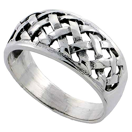 Sterling Silver Basket Weave Ring for Women 3/8 inch size 10