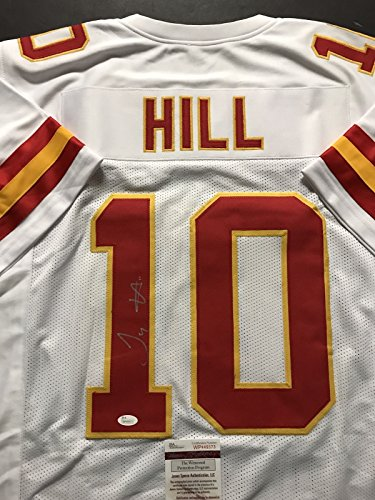 Autographed/Signed Tyreek Hill Kansas City Chiefs White Football Jersey JSA (Autographed Authentic Football Helmet)