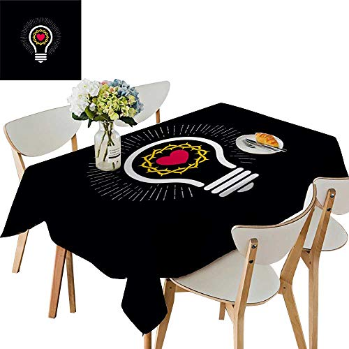 UHOO2018 Solid Tablecloth Logo Church Christi Symbols lamp Crown Thorns Square/Rectangle Spillproof Fabric Tablecloth,54 x111inch