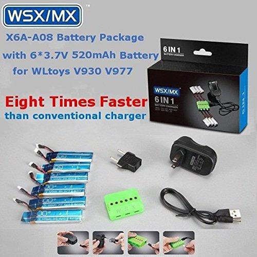 PhilMat 6 in 1 Batteriepaket 3.7v 520mah 520mah 3.7v 30c Batterie für den wltoys v930 v977 XK k110 3b5705
