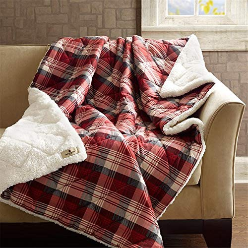 - Woolrich Tasha Luxury Oversized Sofstpun Down Alternative  Throw Red 50x70   Plaid Premium Soft Cozy Cozy Spun For Bed, Couch or Sofa
