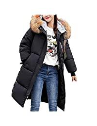 OGOUGUAN Women's Long Down Coat with Faux Fur Hood Winter Coat Down Jackets