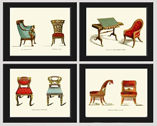 Blue Red Chair Antique Furniture Print Set of 4 Prints Beautiful Aqua Chairs Writing Desk Home Room Decor Wall Art Unframed