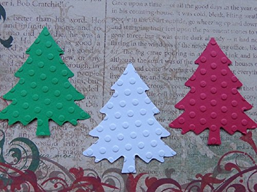 Red White and Green Christmas Tree Paper Die Cuts - Polka Dot Embossed Scrapbooking Embellishments - Holiday Gift Tags (Set of 35) (Dot Tags Polka)