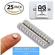 """Mini Round Refrigerator 25 Magnets (1/8"""" x 1/4"""") Super Strong with BONUS Storage Case + 2 E-Books - Arts and Crafts, Science Projects, Garage and Office Organization"""