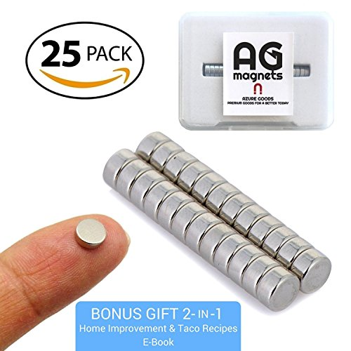 Molded Hook Tape - Mini Round Refrigerator 25 Magnets (1/8