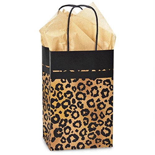 Leopard Safari Paper Shopping Bags - Rose Size - 5 1/4 x 3 1/2 x 8 1/4in. - 150 Pack by NW