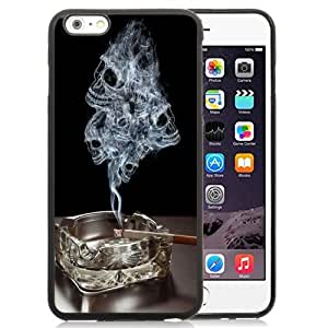 NEW Unique Custom Designed iPhone 6 Plus 5.5 Inch Phone Case With Smoke Skulls Ashtray Burning Cigarette_Black Phone Case
