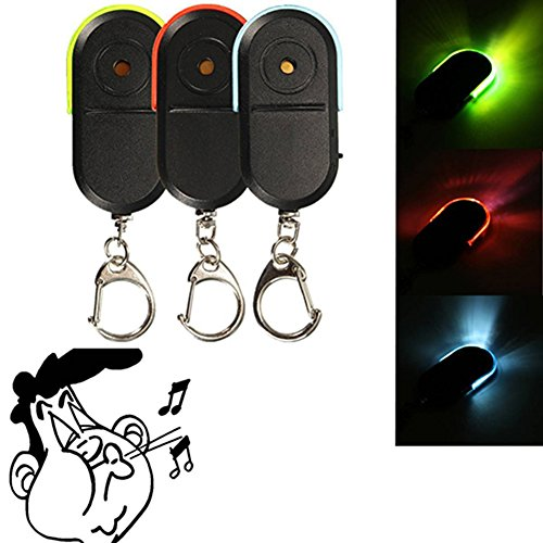 ClothingLoves Voice Control Wireless Anti-Lost Alarm Key Finder Locator Keychain With 30 meters Whistle Sound & Colorful LED Light (Red)