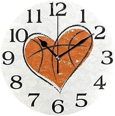 linomo - Reloj de Pared, diseño de balón de Baloncesto con Forma ...