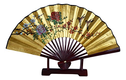 (1980s Vintage Classic 24-inch Hand-painted Decorative Fan, Gold Leaf, 2 Magpie Cherry Blossom Poeny Blessings of Happiness, Bird, Chinese Japanese Style, with Stand (T103))