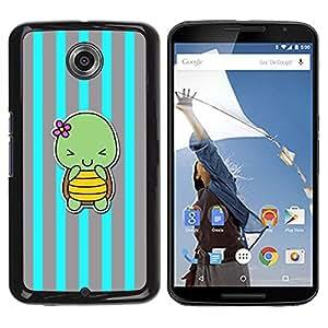 FlareStar Colour Printing Blue Turtle Cute Cartoon Grey Lines cáscara Funda Case Caso de plástico para Motorola NEXUS 6 / Moto X / Moto X Pro