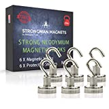 Strongman Magnets | Powerful 25LB Neodymium Heavy Duty Magnetic Hooks | Non Scratch Stickers | Indoor Outdoor Hook Magnets! Declutter Now! (6 Pack)