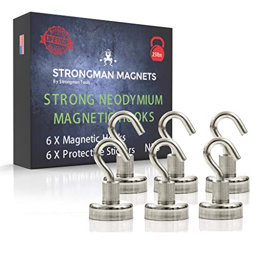 Strongman Magnets | Powerful 25LB Neodymium Heavy Duty Magnetic Hooks | Non Scratch Stickers | Indoor Outdoor Hook Magnets! Declutter Now! (6 Pack) by Strongman Tools