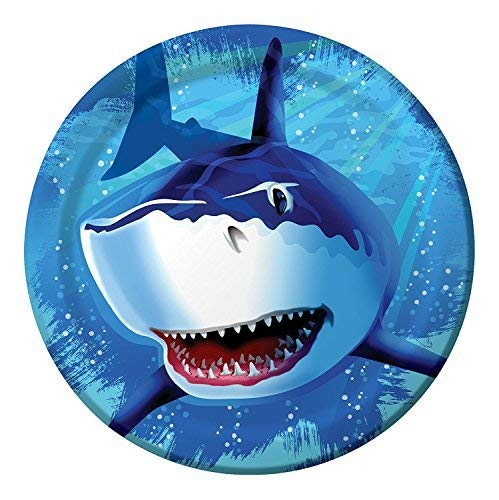 Creative Converting Shark Splash Round Dinner Plates, 24 Count (Value Pack)]()