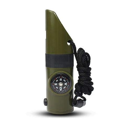 Silbato 7 en 1 Se/ñal Rescate Mini Herramienta multifunci/ón Supervivencia Emergencia pl/ástico al Aire Libre Hikin Camping Pr/áctico Deportes Camuflaje Color