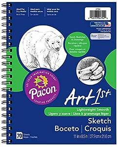 "Pacon Art1st Sketch Diary, 11"" x 8-1/2"", White, 70 Sheets (4794)"