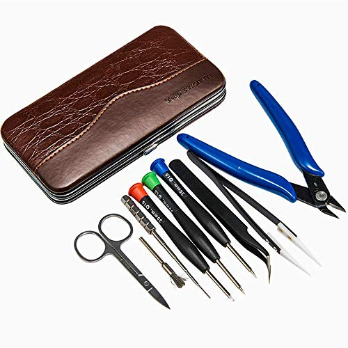 Coil Building Tool Kit Home DIY Tool Set 9 in 1 Leather case-Ceramics Tweezers Scissors Pliers Wire Jig Screwdriver Coil Brush Stainless Steel Tweezers for Household and Jewelry Repair Tool Set by YYGJ (Image #1)
