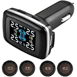 Bluetooth TPMS Universal Tire Pressure Monitoring System,Cigarette Lighter DIY Tire Pressure Gauge with USB Charger Port and 4 valve stem caps