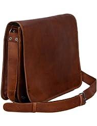 Komals Passion Leather Vintage Mens 16 Inch Leather Laptop Messenger Pro Satchel Mens Bag