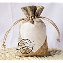 White Love Heart Print Natural Jute Hessian Burlap Bags Rustic Wedding Favors Party Gift Candy Boxes (50 Pcs)