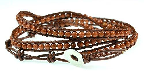 Color Gemstones geniune leather bracelet product image