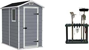 KETER Manor 4x6 Resin Outdoor Storage Shed Kit-Perfect to Store Patio Furniture, Garden Tools Bike Accessories, Grey & White & Stalwart Rolling Garden Fits 40 Tools Storage Rack Tower