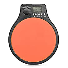 Neewer® 3-in-1 Digital LCD Display Portable Drum Practice Pad Metronome Drummer Training Pad with Adjustable Rhythm Beat Tempo(Orange)