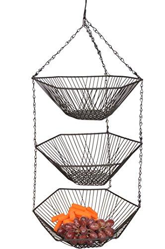 "3 Tiers Hanging Fruit Basket w/ Black Finished. 12.6"" X 12.6"