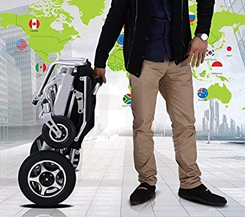 Fold & Travel Lightweight Motorized Electric Power Wheelchair Scooter, Aviation Travel Safe Electric Wheelchair Foldable Heavy Duty Power Wheel Chair