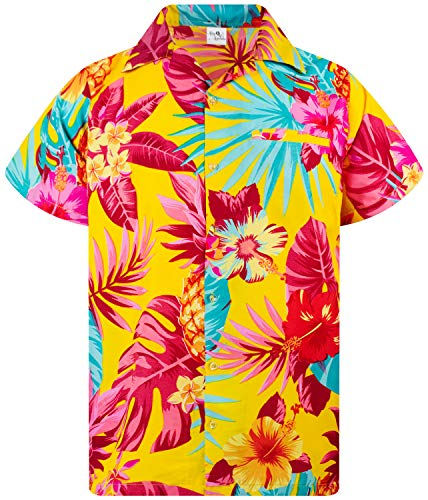 King Kameha Funky Hawaiian Shirt, Shortsleeve, Pineapple, Yellow, ()