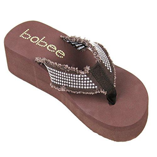 Kvinners Sandal Stranden Flip Flops Kile Med Piggdekk Stropper Stil Thongs Stil # 2928 Brun