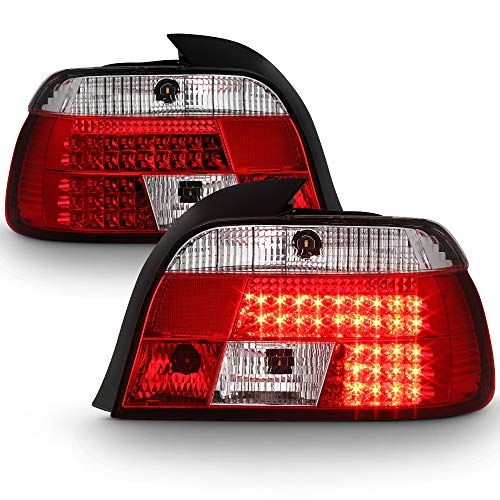 ACANII - For 1997-2000 BMW E39 5-Series Lumileds LED Red Clear Tail Lights Brake Lamps Driver & Passenger Side