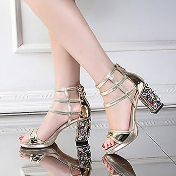 Fein mit weiblichen Schuhe, Fisch Mund mit feinen, mit weiblichen Sandalen, silbrig, 38
