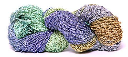 Fiesta Yarns Hand Dyed Starburst Rayon Boucle Yarn, Wind Surfer Fiesta Knitting Yarn