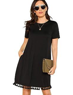 fbfbd6706b73 Romwe Women s Summer Short Sleeve Pocket Tassel Hem Loose Tunic T-Shirt  Dress