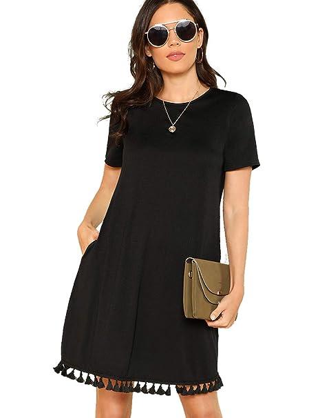 f7093369efc Romwe Women s Summer Short Sleeve Pocket Tassel Hem Loose Tunic T-Shirt  Dress Black XS