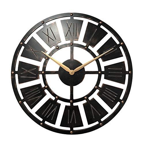 YJIUJIU Retro 23-inch Wall Clocks Round Decorative Metal Distressed Iron Roman Numeral Clock Quartz Movement Vintage Dia Large Iron Metal Indoor Wall Clock