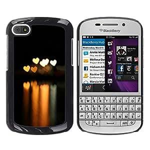 LECELL -- Funda protectora / Cubierta / Piel For BlackBerry Q10 -- Bokeh Lights Hearts --